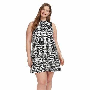 Tiana B Dress 24W 2X Jacquard Knit Trapeze A94-02P